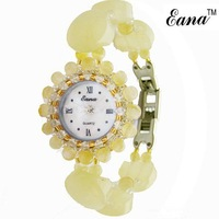 Free shipping natural topaz quartz watch/ natural gemstone wrist watch, MOQ: 1piece