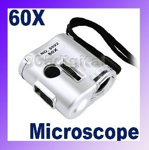 18Pcs 60X Microscope Loupe LED Light Magnifier Money Detector