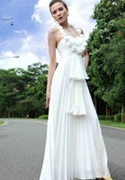 Empire mermaid style floor length sleeveless beading  wedding dress gown prom evening bridesmaid dress gown 25