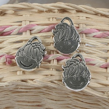 10pcs antiqued silver two sides girl design pendant G887