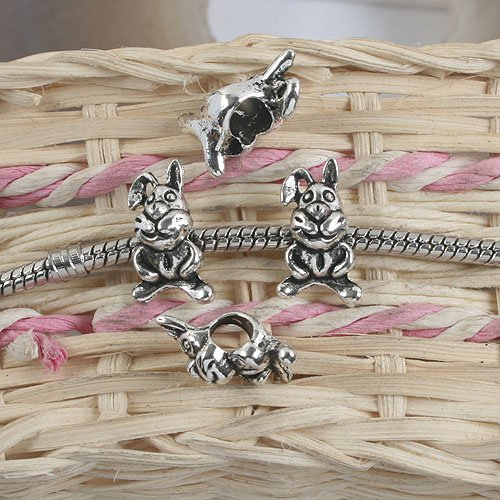 12pcs antiqued silver two sides rabbit design spacer beads G901(China (Mainland))