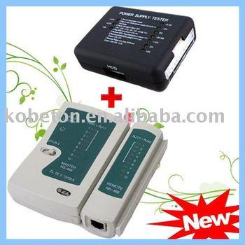 5Set Internet Network Diagnostic RJ45 RJ11 Cat5 Cat6 Ethernet LAN Cable Tester + 20 24 PIN PC PSU ATX SATA HD Power Supply Meter