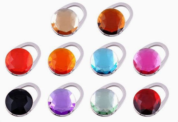 Wholesale/Free Shipping 15pcs/lot- Acrylic Purse Hooks Bag Handbag Hook ,10 Mixed Color,No.4CM01(China (Mainland))