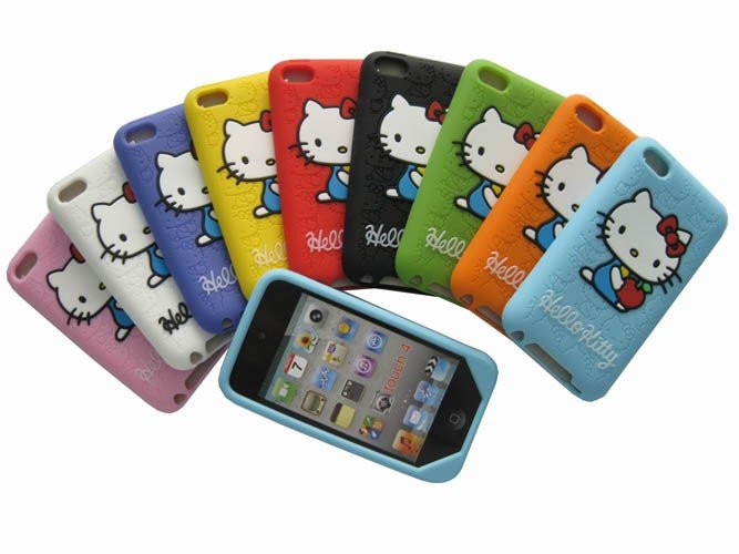 Free shipping 100pcs/lot New Hello Kitty Silicone Soft Skin Case Cover For iPod Touch 4(China (Mainland))