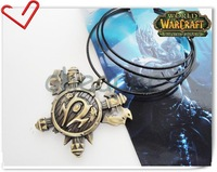 "Wholesale World Of Warcraft Anime Orcs Racial Badges Pendant with leather chain 17""Anime Gift Free shipping"