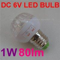 DC 6V 1W 15LEDs E27 80lm white LED bulb lamp for Solar Panel(6v battery solar lighting) FREE SHIPPING