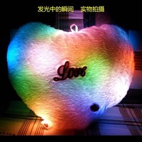 100% FREE SHIPPING 5pcs/lot Colorful Lucky Type Led Pillow Romantic love heart Pillow valentine's day holiday gifts
