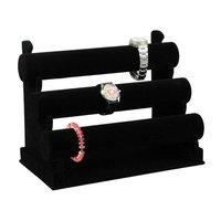 Free Shipping High Quality Watch Bracelet Display Stand T-Bar 3 Tiers Velvet Black CF-333BV