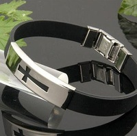 Fashion Titanium Steel Men&amp;#39;s Cross silicone bracelet/HOT SELL