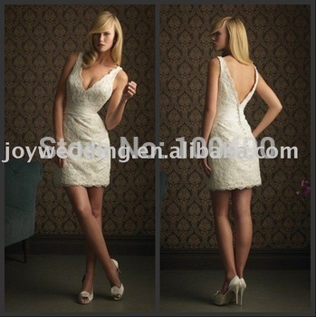 Backless Hotsale FREE SHIPPING Lace Ivory Cocktail Dresses 2014