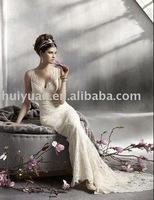 popular cream wedding dress halter long train