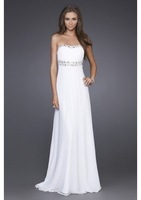Sweep Train Sewing and Beading Beaded Neckline With Slim Column Shape Skirt Chiffon Beautiful Evening Dress E-0069