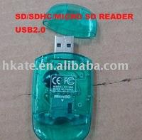 free shipping 50pcs/lot Mini USB 2.0 SDHC Card Reader+TF/Micro SD Adapter dsh001