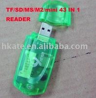 free shipping 50pcs/lot Mini USB 2.0 TF/SD/MS/M2/mini card reader Reader+TF/Micro SD Adapter pc001