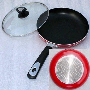 26cm non stick fry pan with glass lid.frying pan,aluminium pan
