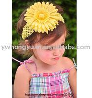 Wholesale Girls Hairbow Hairband Satin Crochet Headband Baby headband with daisy flower clip