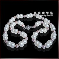 Free shippin+18''Bread shape white pearl & Lilac(Pink) freshwater pearl necklace Natural Pearl Necklace, Pearl Jewelry Necklace