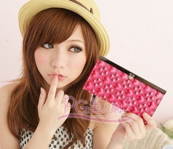 Hot pink  PU Purse  wallet  card pack card holder 1013 New
