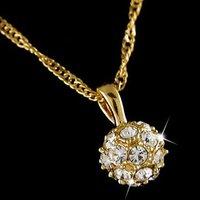 18k  Yellow gold plated  Italina Crystal ball Woman 's Necklace LJN001