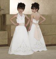 2011-Hot Sell A-line Floor-length Satin Flower Girl Dresses