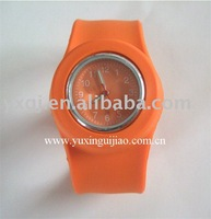 pretty orange silicone slap watches