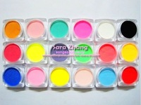3D nail art 18 Color Acrylic Powder for Nail Art Tips Decoration 18pcs/lot Free Shipping