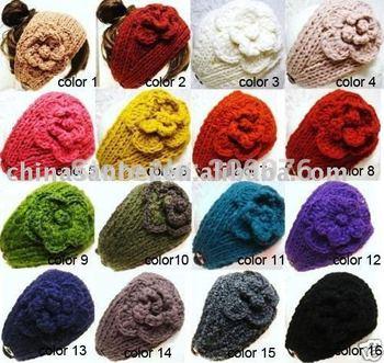 Handmade Headbands Flower acrylic knit headwrap crochet headwear