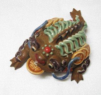 free shipping,Animal Figurine Craft , ceramic gold toads ,mascot ,100% handmade folk art wholesale