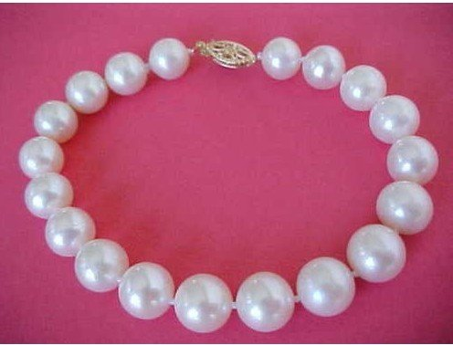 Wholesale - 10pcs/lot 9-10MM ROUND WHITE PEARL BRACELET 7.5-8&quot;(China (Mainland))