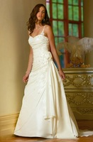Wonderful White Strapless Taffeta Bridal Gown/Wedding Dress Custom Free Shipping