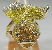 """Free shipping Jewellery"" New Arrival Fashion gold Sapphire  lovely Gold Fish ring 10kt Yellow gold ring sz9/8 9344"