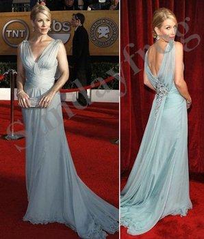 Christina Applegate Screen Actors Guild(SAG) Red Carpet Celebrity Dresses V-Neck Chiffon Ruched Evening Dresses Formal Gown