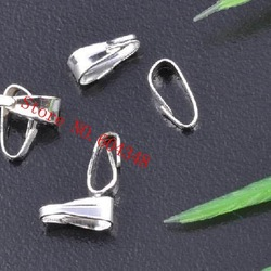 3 X 7MM Pendant Clips & Pendant Clasps, Pinch Clip Bail Pendant Connectors, Copper Silver Plated, 1000PCS/LOT. Jewelry Findings.(China (Mainland))