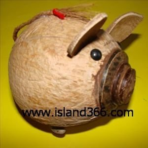 Coconut Shell Carving Handicraft Piggy Money Box, Valentine /Easter gift, Best selling(China (Mainland))
