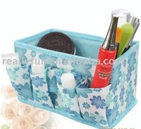 Free shipping /Yellow, pink, blue non-woven Cosmetic storage box,ladies' dressing cases cosmetic box.24pcs/lot
