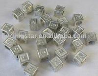 FREE SHIPPING 52pcs Tibetan Silver Square Alphabet for bracelet M7177