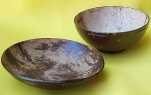 Coconut Shell Carving Plate and Bowl, Valentine&#39;s Day Gift 2pcs /lot Best selling(China (Mainland))