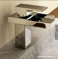 modern single lever chrome brass square waterfall bathroom washbasin tap