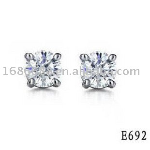 25% Off Free Shipping DHL EMS UPS 925 silver earring silver studs with Crystal good gift for male E692