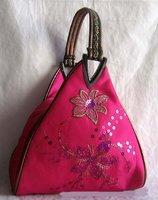 Free shipping! Wholesale 10 flower sequin deltoid handbags