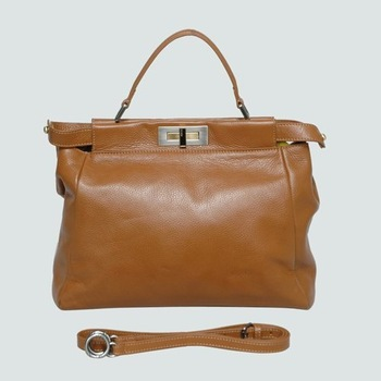Peek-a-Boo Tote Bag in Camel Real Leather 2311 Wholesale Retail Free shipping