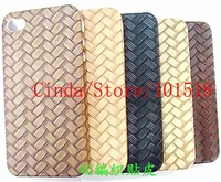 50pcs/lot Free shipping wholesale-Newest Weave Hard Cover Case for iPhone 4 4G