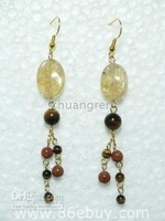"wholesale retail genuine 3"" semi precious stone fashion dangling earrings"