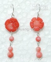"wholesale retail genuine 2"" pin coral & freshwater pearl fashion dangling earrings"