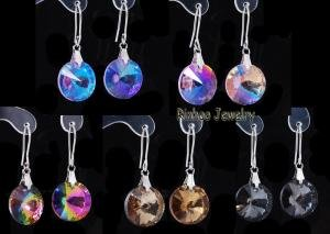 Wholesale crystal Earrings Mixed Colors Round Pendant 60 Pairs Opp Packing Free Shipping(China (Mainland))