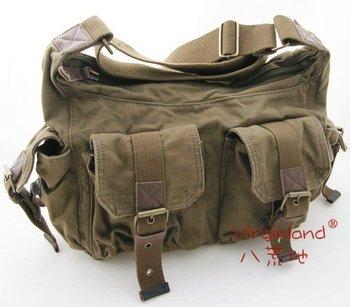 2015 High Fashion Good quality thick canvas genuine leather washed canvas messenger bag/shoulder bag