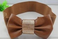 free shipping high fashionable pu big bow elastic belt for lady dress decoration