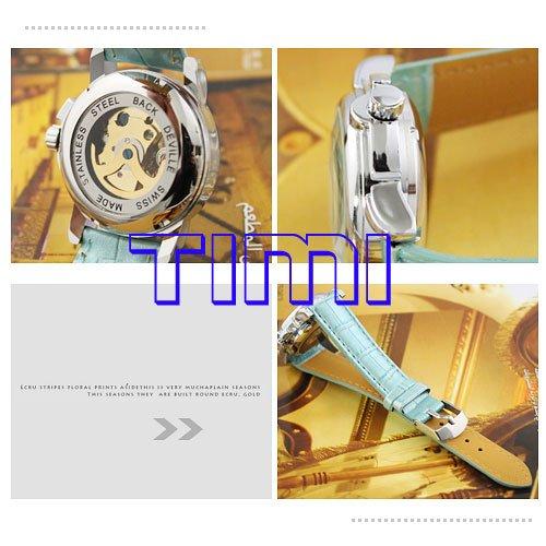 wholesale Blue Mechanical Leather Watch Women Gold Skull Lady New(China (Mainland))