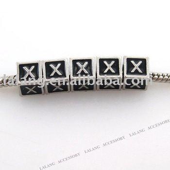 30pcs/lot Square Big Hole Alloy Rhodium Plated Black Enamel Letter X Beads Fit Charms Bracelet 7*7mm 150767