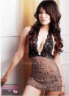 Wholesale Ladies Sexy Lingerie Babydoll/Mini Dress Nighty/leopard V-Neck strap Free gift/Drop Ship(China (Mainland))